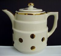 Vtg Hall Pottery Gold Label Polka Dots Coffee Pot & Lid Gold Trim & Dots Ivory