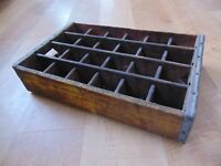 Vintage Coca Cola wood Soda Crate coke advertisement 24 section carrier yellow