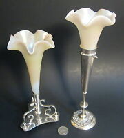 2 Antique Victorian English Art Glass Iridescent Epergne Silverplate Bud Vases