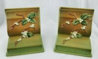 Pair of Vintage Green Roseville Pottery Snowberry Bookends 18-E Made U.S.A. NICE