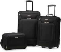 3 Piece Luggage Set Black Travel Rolling Carry On Suitcase Wheels Boarding Bag