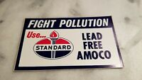 Vintage Standard Amoco Oil quot;Fight Pollutionquot; Sticker Decal New Old Stock