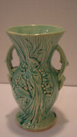 McCoy Green Vase Peacock or Bird of Paradise Pattern Double Handled 1948