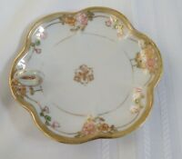 Vintage Hand Painted Gold Beaded Nippon Handled Trinket/Candy Dish