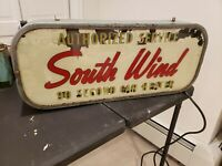 VINTAGE SOUTH WIND CAR HEATER LIGHTED SIGN 1940S FORD CHEVROLET KAISER MOPAR