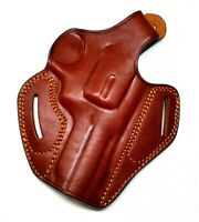 Gun Holster, OWB 2 Slot Thumb Snap Brown Leather Right For S&W 3