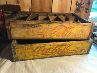 Lot of 2 Vintage Wooden Yellow Coca Cola Coke Bottle Crate Carrier Boxes