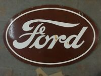 PORCELAIN oval FORD ENAMEL SIGN 24 X 36 Inches 2 sided