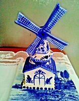 BLAUW DELFT HANDPAINTED WINDMILL MOVABLE BLADES and TILE - HOLLAND