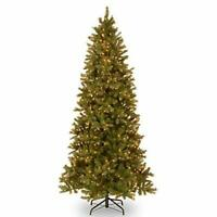 9ft Realistic Fir Pencil Slim Tree With LED Lights Holiday Christmas Home Decor