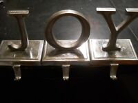 NEW POTTERY BARN JOY Letters Sculpted Christmas Stocking Holder Silver