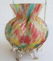 Vtg End of Day Bohemian Ribbed Melon Shaped Bowl Vase Art Glass Czech Spatter