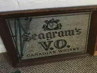 SEAGRAMS V.O. Canadian Whisky with Wood Frame Original Mirror from the 1980's