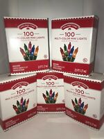 Holiday Time 100 Multi-Color Mini Lights Christmas Lot 5 Boxes. Indoor-Outdoor