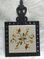 HALL AUTUMN LEAF TRIVET ~ WROUGHT IRON & POTTERY TRIVET • NEW ADD ON