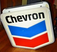 "Vintage Genuine CHEVRON Gas Station LIGHT UP SIGN  28""x25""---TESTED WORKS"