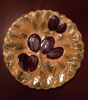 SARREGUEMINES FRENCH MAJOLICA DESSERT PLATE FRUIT PATTERN FRANCE