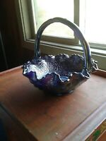 Vintage Carnival Glass Fenton Amethyst Persian Medallion Pattern Brides Basket
