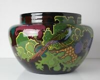 Gouda Pottery Jardiniere c1920 high gloss exotic birds and flowers
