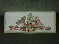 Pier 1 Christmas Morning Pups Kittens Puppies Platter NEW with Tags