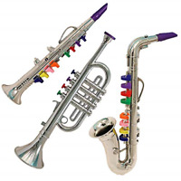 3 Pcs Set Of Musical Instrument Toy Trumpet Clarinet Saxophone For Kids Activity