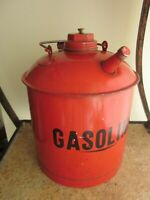 Vintage Metal Gas Can Small Angled Spout Gasoline Can w/ Insert