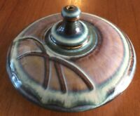 "BILL CAMPBELL :: 5"" STUDIO ART POTTERY OIL LAMP Blue/Purple Glaze USA"