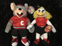 Vintage Chuck E Cheese Pizza Chuck E &  Helen plush doll Set With Tags 2004