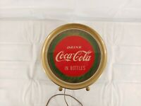 Vintage Drink Coca Cola In Bottles Round Counter Top Fountain Top Lighted Sign