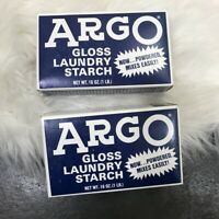 ARGO New Old Stock Powdered Gloss Laundry Starch 16 oz- Lot of 2 Vintage Prop