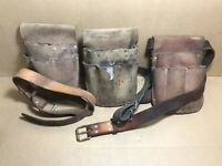 LOT OF 3 VINTAGE BELL SYSTEM TELEPHONE LINEMAN LEATHER TOOL POUCHES AND BELTS