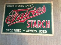 Vintage FAIRIES STARCH Store Advertising Sign Cardboard