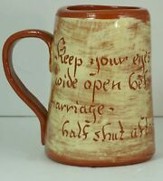 Vintage Motto Ware Mug Keep Your Eyes Wide Open Before Marriage Half Shut After