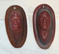 VAN BRIGGLE Early 1930's Pottery Mulberry Native American Indian Faces Pair