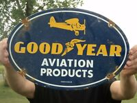VINTAGE 1939 GOODYEAR AVIATION PRODUCTS PORCELAIN ENAMEL SIGN