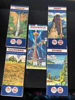 VINTAGE 5 OLE ROAD MAPS FROM CHEVRON SURPREME RPM MOTOR OIL STATION
