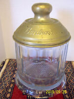 BORDEN'S GLASS MALTED MILK CANISTER CONTAINER WITH METAL LID