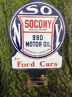 PORCELAIN SOCONY DOUBLE SIDED SIGN 990 MOTOR OIL FORD CARS Paddle Standard