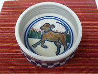 DEBBIE DEAN The Clay Rabbit Pottery Folk Art Checkerboard Dog Dish