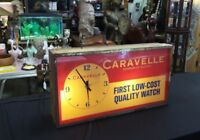 Vintage BULOVA Caravelle WATCH Lighted Clock Sign MODERN CLOCK ADVERTISING