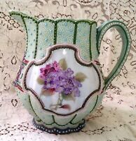 Vintage Nippon Japan Hand Painted Beaded Floral Moriage Pitcher
