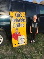 Rare Old Reliable Coffee Porcelain Lighthouse Sign Service Station Country Store