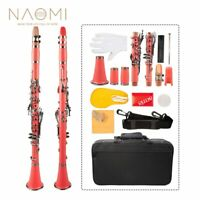 NAOMI Tune B 17 Key ABS Clarinet Kit Clarinet+Reeds+Strap+Case+Components Pink