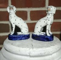ANTIQUE PAIR STAFFORDSHIRE DALMATIAN DOG FIGURINES