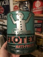Vintage FLOTEX . Snowman.Anti-Freeze One Gallon Can NICE COLORS RARE.Oil.gas.old