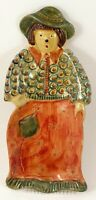 Vintage Italy Ceramic Hand Painted Lady Woman Scarecrow Hanging Spoon Rest
