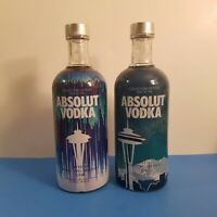 2 Seattle Absolut Vodka Collectible Bottles No Alcohol Collectors series RARE