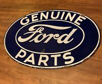 """Original Double-Sided  FORD GENUINE PARTS PORCELAIN SIGN Car Gas 24"""""""