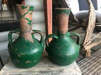 Cleater Meaders Sr. Pair Double Handled Vases Unglazed North Georgia Pottery
