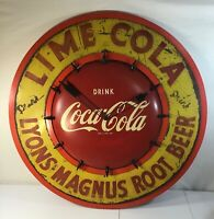 Rare 1950s Coca-Cola Clock Sign w/ Tiny Coke Bottles Lyons Magnus Root Beer Lime